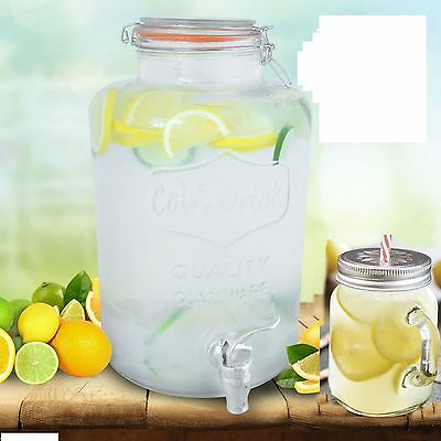 Clip Top Dispenser Drink Water Juice Punch Cocktail Tap Handled Glass Mugs Jar