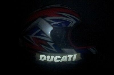 Reflective white Ducati Helmet stickers / decals , 140mm long x 3pcs.