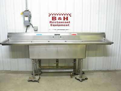 "106 1/2"" Heavy Duty 3 Bowl 2 Drain Board 18"" Compartment Stainless Sink 8' 10"""