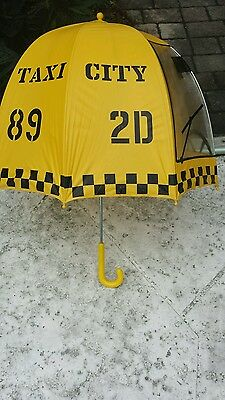 Vintage Two's Company Taiwan Yellow City Taxi Cab Bubble Dome Umbrella Way Cool