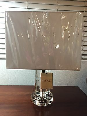 NWT Ralph Lauren Crystal Cylinder with Chrome Table Lamp Stunning