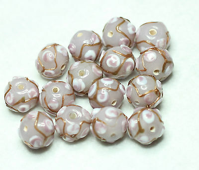 15 INDIAN LAMPWORK GLASS BEADS12mm ROUND LILAC/GOLD (BBB635)
