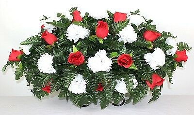 Beautiful Red Roses and White Carnations Cemetery Tombstone Saddle Arrangement