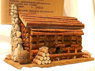 "Home Interiors - REAL WOOD LOG HOME PLANTER 10"" X 8"" X 6"" NEW!!"