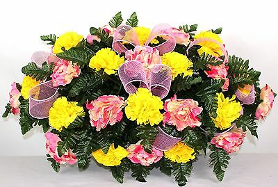 Yellow Carnations and Pink Peonies Cemetery Tombstone Saddle Arrangement