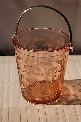 Fostoria Versailles Pink Ice Bucket Depression Etched Glass Detachable Handle