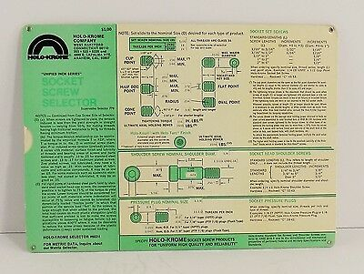 Holo-Krome Socket Screw Selector #682-1 Card Chart Inches UNIFIED INCH SERIES