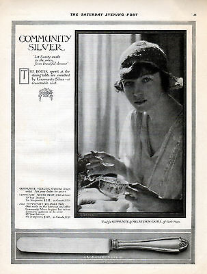 """1914  Community Silver ad --Featuring Mrs. Irene Castle of """"Castle House""""--j813"""