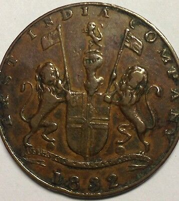 1832 EAST INDIA COMPANY COIN QUARTER ANNA; Ancient Collector Collection Copper