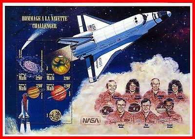 ASTRONOMY & SPACE SHUTTLE M/S MNH ** from MALI 1996 =  HALLEY'S COMET, JUDAICA
