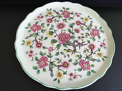 Vintage Retro Floral Chintz James Kent Old Foley Chinese Rose Cake Plate - 10.5""