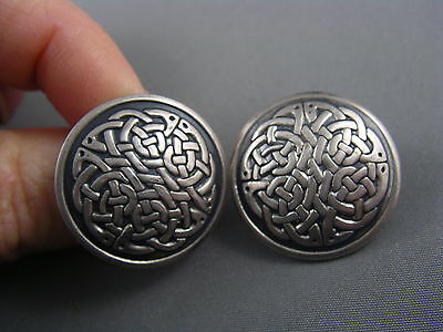 LARGE Vintage Round CELTIC Sterling Button Earrings