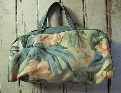 BAG Linen & Vinyl Knitting Needle Craft Embroidery Tote Genuine VINTAGE Retro