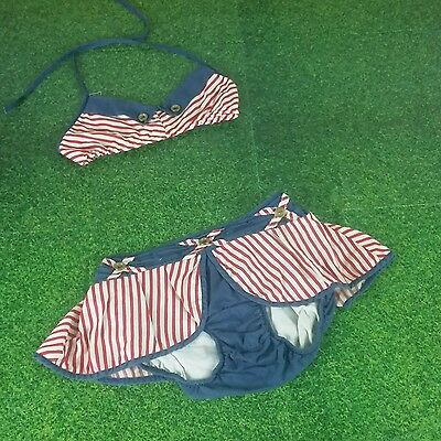 VTG Patriotic Bikini Rockabilly 2 pc pageant cotton lined brass buttons