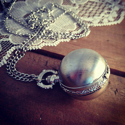 Vintage Style Silver Pocket Watch Necklace Pendant & Chain Ball Sphere Snitch