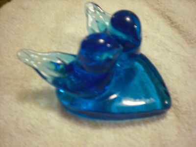 Valentine gift:2 bluebirds of happiness sitting on a heart
