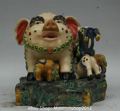"""9"""" China Wu Colour Porcelain Pottery Animal Pig Mother Son Family Wealth Statue"""