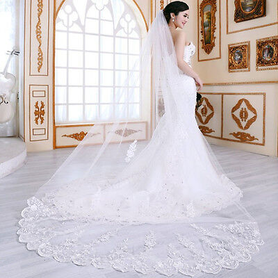1 Layer Chapel Length 260 Cm Wedding Bridal Veil with Comb