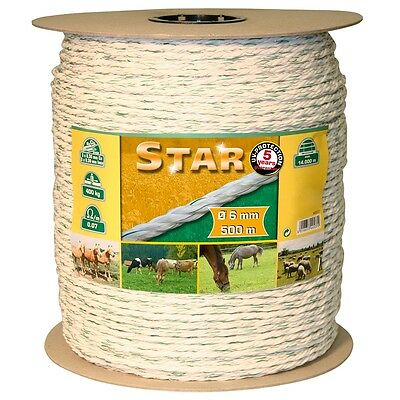 Kerbl Electric Livestock Fence Rope Tape Star 500 m White-green 6 mm 44537