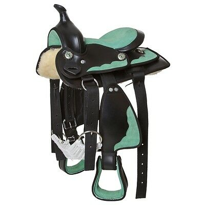 """Kerbl Western Horse Pony Saddle Set Stable Synthetic Velour Green 13"""" 325407"""