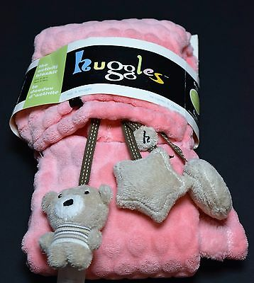 My Friend Huggles Blanket Micro  Polyester Activity Blankie Toys New Pink