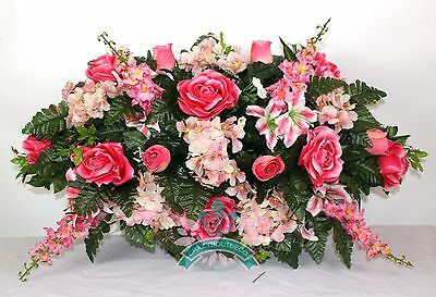 XL Pink Roses with Hydrangea Cemetery Tombstone Saddle Arrangement