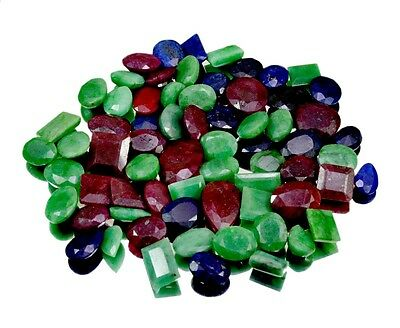 600ct / 68pcs Natural Emerald Ruby Sapphire Uk Ring Size Gemstone Wholesale Lot