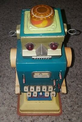 VINTAGE ANSWER GAME ROBOT EARLY 60s TIN MADE IN JAPAN BY ICHIDA VERY RARE NR