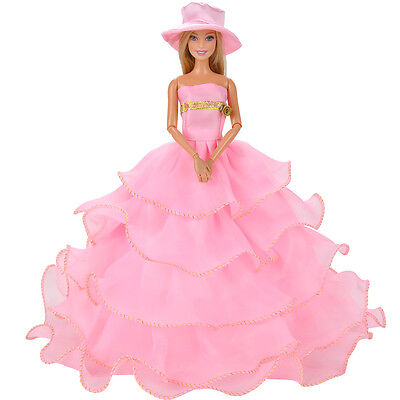 Handmade Dolls Clothes Pink Lace Wedding Dress Party Gown For Barbie Dolls S