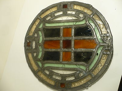 Antique LEADED STAINED GLASS Roundel  Crest