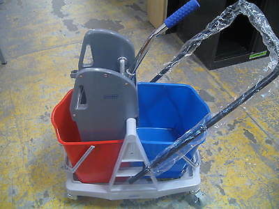 Mop Bucket with Double Bucket and Wringer Combo on Castors.