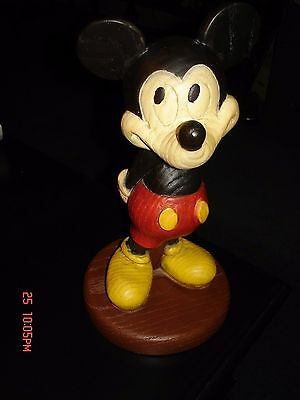 "Vintage 10"" Mickey Mouse Statue - Wood Simulated High Quality Walt Disney World"