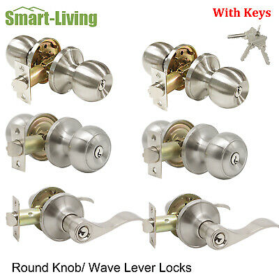 5 Pcs Brushed Nickel Keyed Entry Entrancy Door Handles Lockset Leverset with Key