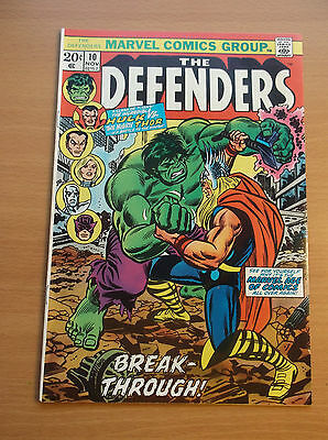 Marvel: Defenders #10, Classic Hulk Vs Thor Battle, 1973, Higher Grade, Vf/nm!!!