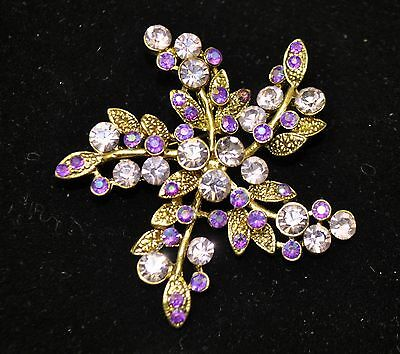 Vintage flowerStyle Brooches bronze/Purple mixcolor high-quality Bouquet gift17