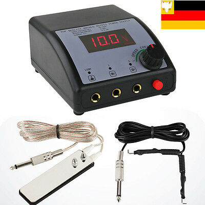 pro Digital Tattoo DUAL LCD Display Power Supply Machine Foot Pedal power cord