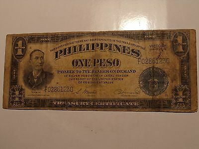Old Philippine 1 Peso World Banknote Paper Money Lot #13