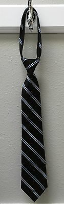Kid Youth Boy's NAUTICA Black Blue White Striped 100% Silk Zipper Tie Neck Tie