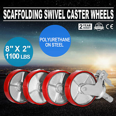 """A set of 4 Scaffolding 8"""" Cast Iron Caster Wheel with Double Locking Brakes"""
