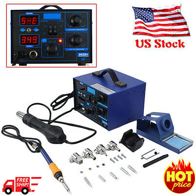 2in1 Soldering Rework Stations SMD Hot Air & Iron Desoldering Welder ESD 862D+ N