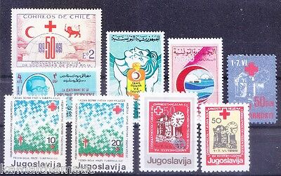 Red Cross MNH stamps, Lot - 9 stamps