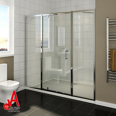 1360x1900 Shower Screen Pivot Door+Double Extended Fixed Panel Wall TO Wall