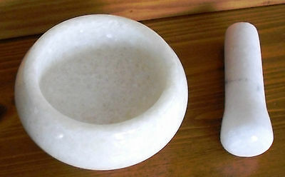 MORTAR AND PESTLE SET WHITE Marble Small Herbs Spices Garlic Chili