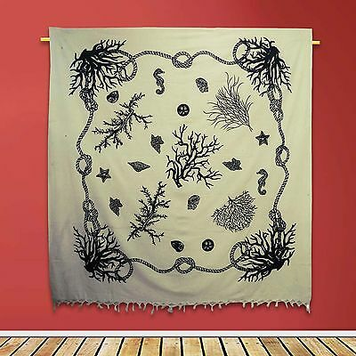 Vintage Sea Creature Tapestry White Wall Hanging Cotton Indian Decor 92 X 82
