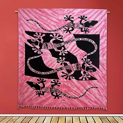 Vintage Lizard Tapestry Wall Hanging Cotton Indian Pink Home Decor 92 X 82