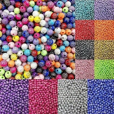 100Pcs 8MM Acrylic Round Rhinestone Spacer Loose Beads For Jewelry Making