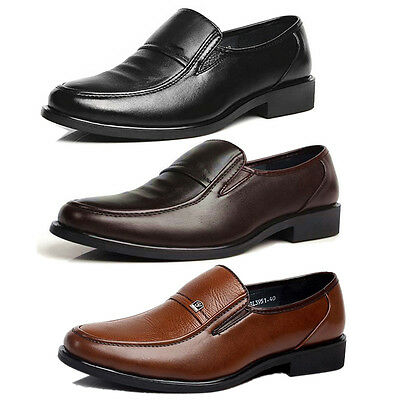 Men Business Casual Shoes Dress Formal Oxfords Classic Leather Slip On Loafers