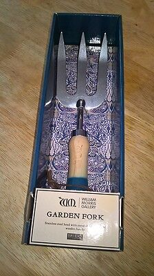william morris gallery garden stainless steel hand fork with wooden handle boxed