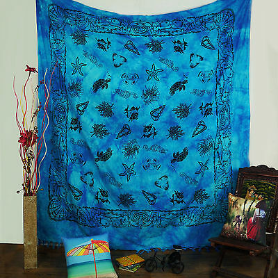 Vintage Style Sea Creature Print Tapestry Blue Cotton Fabric Hanging 92X 82