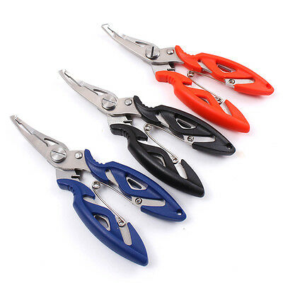 Stainless Steel Fishing Pliers Split Ring Hook Remover Scissors Tackle W/ Bag SS